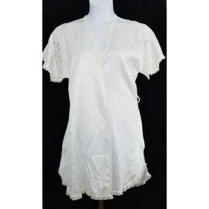Vintage Christian Dior Lingerie White Short Robe